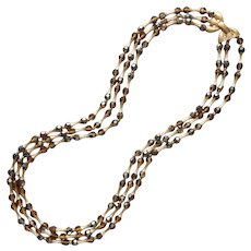 Crown Trifari Brown AB Crystal Beads Gold Tone Vintage Necklace 3 Strand
