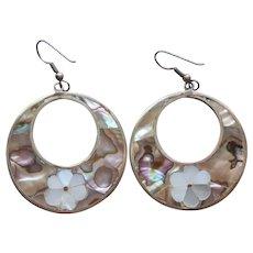 Abalone Mother Of Pearl Inlay Hoop Dangle Earrings Vintage Pierced