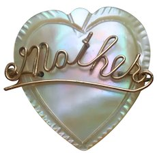 Mother Of Pearl Heart Antique Pin Spells Mother In Gold Tone Wire