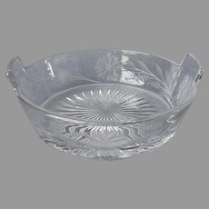 Antique Heisey Glass Pickle Relish Butter Bucket Style Dish Floral Cut