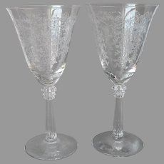 Fostoria Romance Water Wine Glasses Goblets Vintage Bows Flowers Etched