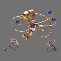 Cobalt Blue Glass Stones Gold Filled Sterling Vermeil Pin Earrings Vintage 1940s