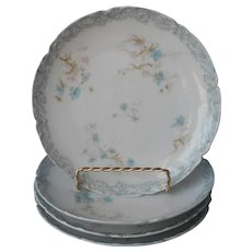 Haviland Limoges Blue Flowers 4 Dessert Plates Antique French China