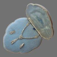 Sterling Silver Rhinestones Necklace Earrings Vintage Set In Velvet Box Phyllis