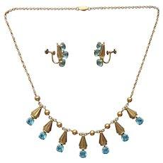 Gold Filled ca 1950 Faux Blue Topaz Necklace Earrings Vintage Screw Back Set