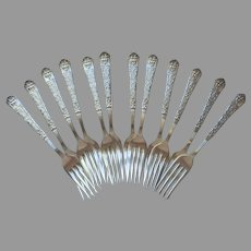 Renaissance 1886 Reed Barton 12 Forks Antique Silver Plated Victorian