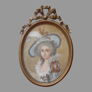 Antique French Miniature Portrait Painting In Bronze Frame Young Lady In Hat