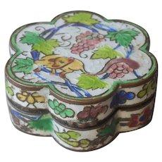 Pill Box Ring Box Chinese Enamel Brass Vintage Lemur Grapes