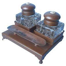 Benedict Athenic Bronze Glass Double Inkwell Tray Set Cameo Ornament
