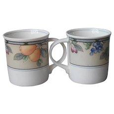 Mikasa Intaglio Garden Harvest 2 Mugs Cups 3.5 Inch Mug Cup