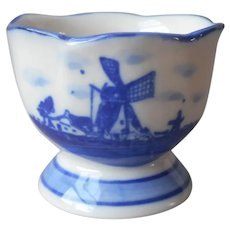 Deflt Egg Cup Vintage China Windmill Small Hand Painted