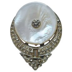 1930s Mother Of Pearl Dress Clip Rhinestone
