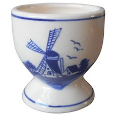 Delft Hand Painted China Egg Cup Vintage Blue White