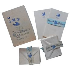 1920s Bluebirds For Happiness Stationery Set For Children Vintage Envelopes Note Paper