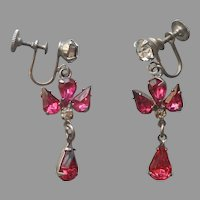 1950s Bright Pink Rhinestone Dangle Earrings Screw Back Vintage