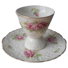 Egg Cup Under Plate Pink Roses Pope Gosser Rose Point 5078 Vintage