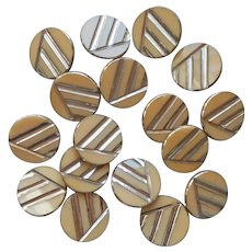 Antique Glass Buttons Set 17 Late 1910s into 1920s Silver On Light Brown