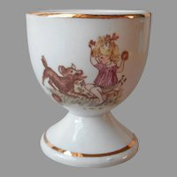 Child's Egg Cup Girl Playing With Dog ca 1960 Porcelain