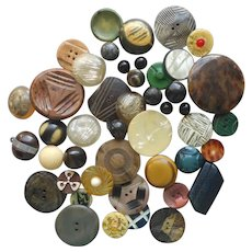 Celluloid And Other Early Plastic Buttons Vintage 1910s to 1930s Large Grouping