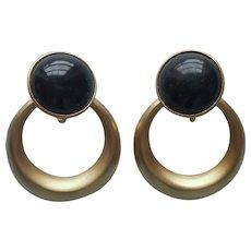 Crown Trifari Earrings Matte Hold Black Vintage Door Knocker Clip ca 1990