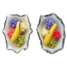 Seashell Earrings Vintage Screw Back Fruit Limpet Shell