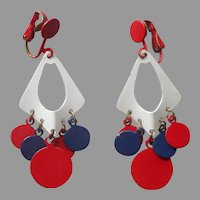 1960s Mod Earrings Red White Blue Painted Metal Dangle Clip Vintage