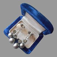 Gray Glass Faux Pearls Rhinestones Vintage Dangle Earrings Screw Back