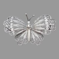 800 Silver Filigree Butterfly Pin Vintage Figural Great Condition