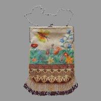 True Micro Bead Beaded Purse Ca 1920 Antique Butterflies Meadow Flowers
