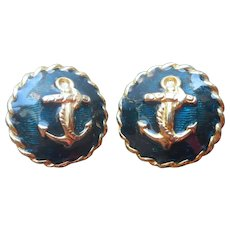 Carolee Navy Blue Enamel Clip Earrings Anchors Nautical Summer Gold Tone