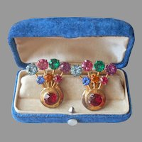 1940s Vermeil Earrings Gold Plated Sterling Silver Colorful Stones Fan Shape