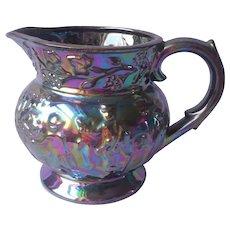 Blue Carnival Luster Glaze Redware Pottery Pitcher Vintage 1950s