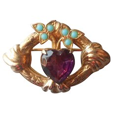 Victorian Revival Little Pin Vintage Faux Amethyst Heart Turquoise