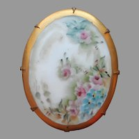 Large Hand Painted Porcelain Pin Antique Needs TLC Pink Roses Blue Gold China