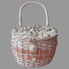 Small Wicker Purse Sewing Basket Vintage Pink White Sea Shells Japan