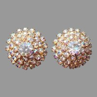 AB Crystal Earrings Domed Clip Vintage Gold Tone Rhinestone