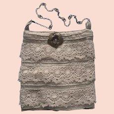 Little Handbag Purse Lace Tucks Taffeta Brass Flower Chain Handle