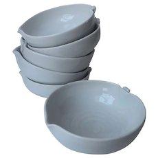 Asian Peach Form Pottery Bowls Set 6 Vintage Green Gray Blue Celadon Mist Color