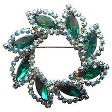 Weiss Pin Emerald Green Navette Blue AB Rhinestones Vintage