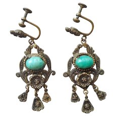 1920s Earrings Marcasite Brass Glass Dangle Screw Back Vintage