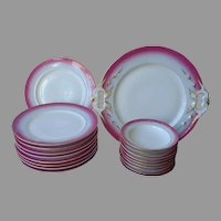 Victorian Dessert Set Cake Plates Fruit Bowls Serving Plate Magenta Blue Gold Antique