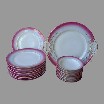 Victorian Dessert Set Cake Plates Fruit Bowls Serving Plate Magenta Blue Gold Antique