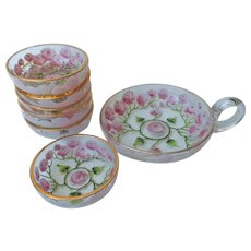 Enameled Roses Glass Salt Dishes Set Antique Butter Pats Nappy Pink Green