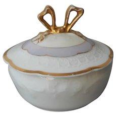 Limoges Trinket Ring Box Lavender Gold Bow Top Antique Porcelain