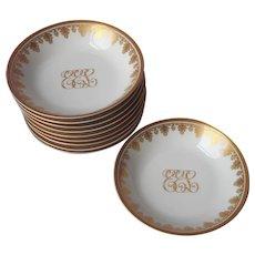 Antique Monogram E.E.L. Gold White Porcelain Relish Dish O.P. Co. Syracuse China