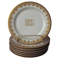 Antique Monogram E.E.L. Gold White Porcelain Bread Plates O.P. Co. Syracuse China