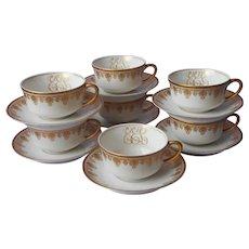 Antique Monogram E.E.L. Gold White Porcelain Cups Saucers O.P. Co. Syracuse China