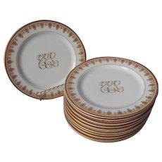 Antique Monogram E.E.L. Gold White Porcelain Dessert Plates O.P. Co. Syracuse China