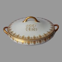 Antique Monogram E.E.L. Gold White Porcelain Serving Dish w Lid O.P. Co. Syracuse China