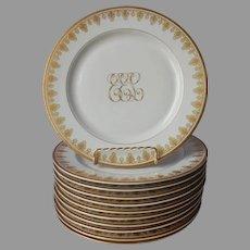 Antique Monogram E.E.L. Gold White Porcelain Dinner Plates O.P. Co. Syracuse China